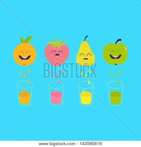 Fresh juice and glasses. Apple strawberry pear orange fruit with faces. Smiling cute cartoon character set. Natural product. Juicing drops. Flat design. Blue background Isolated Vector illustration