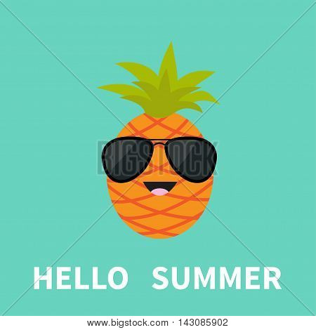 Big pineapple fruit with leaf wearing sunglasses. Cute cartoon smiling character. Hello summer Greeting Card. Flat design. Blue background. Vector illustration