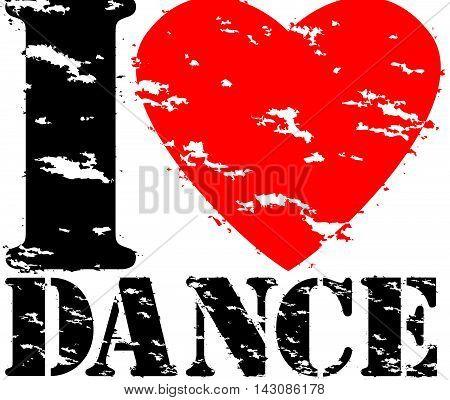 I Love Hip Hop Grunge Rubber Stamp, Vector Illustration
