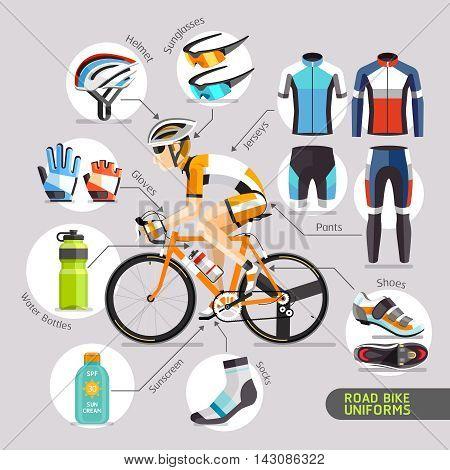 Road Bike Uniforms flat icons. Vector illustration.