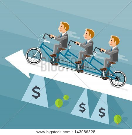 Businessman riding a long bicycle on white arrow. Vector illustrator.