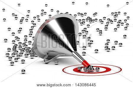 3D illustration of a sales funnel over white background with metal spheres in the center of a red target.