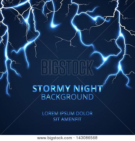 Stormy night with striking lightnings background. Electricity power and bright energy, vector illustration