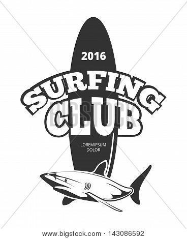 Surfing club logo with board and shark. Emblem design vintage surfboard, vector illustration