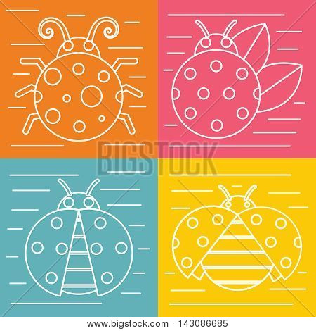 White ladybug with white stroke isolated on color background. Insect in linear style. Vector illustration