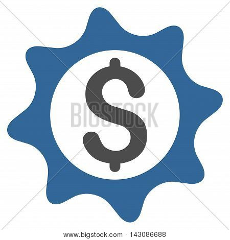 Money Seal icon. Vector style is bicolor flat iconic symbol with rounded angles, cobalt and gray colors, white background.
