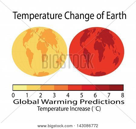 Temperature Change of Earth, Global Warming with world map