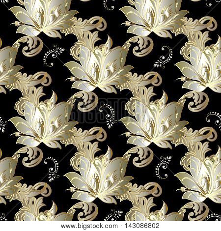Modern luxury black vintage floral baroque vector seamless pattern background with vintage tender beautiful volumetric gold flowers and ornaments. Stylish  illustration and 3d decor elements with shadow and highlights. Endless elegant  texture.