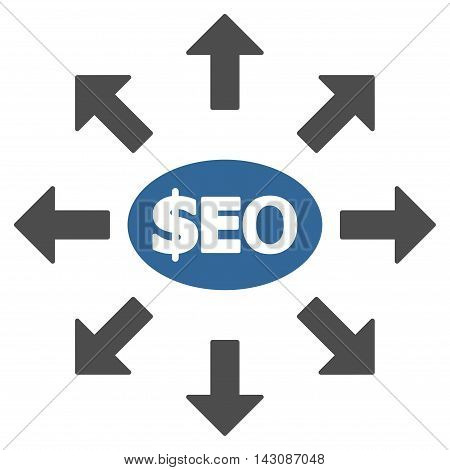 Seo Marketing icon. Vector style is bicolor flat iconic symbol with rounded angles, cobalt and gray colors, white background.
