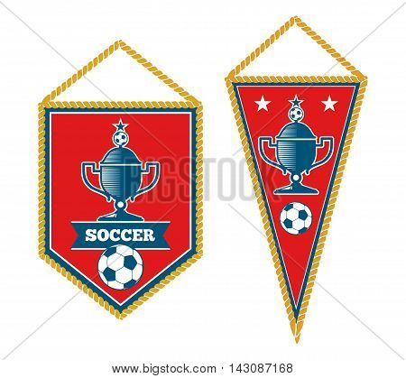 Set of soccer pennants isolated over white. Tournament football banner, vector illustration