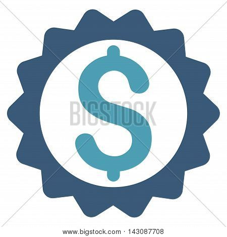 Financial Seal icon. Vector style is bicolor flat iconic symbol with rounded angles, cyan and blue colors, white background.