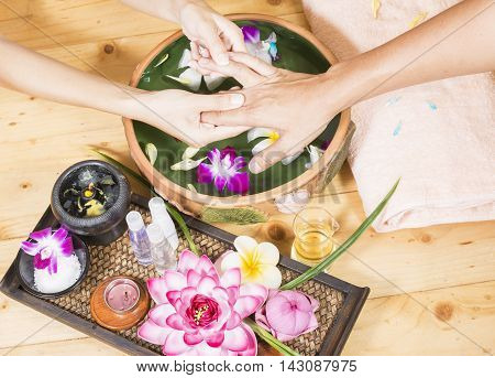 Spa treatment and product for female feet and hand spa, Thailand. soft focus