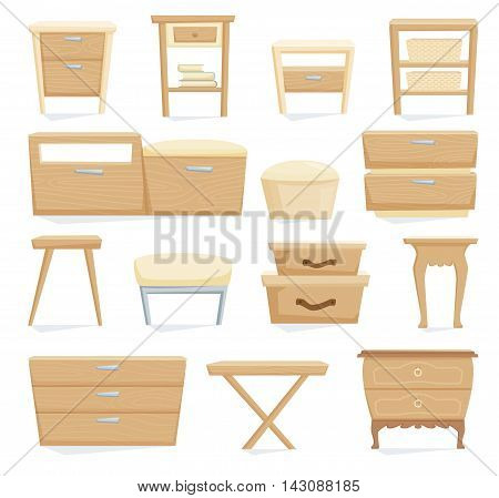 Interior furniture set. Bedrom furniture: bedside table, nightstand, basket, cabinet, table, chair, box. Office and home cartoon furniture isolated on white. Vector illustration