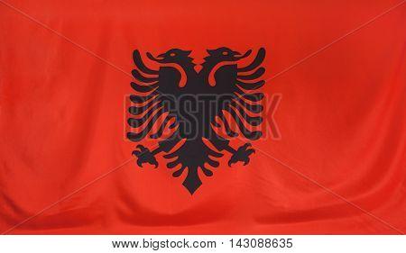 Albania Flag real fabric seamless close up