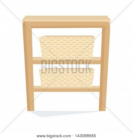 Bedside table with bascket vector illustration. Cartoon cabinet isolated on white