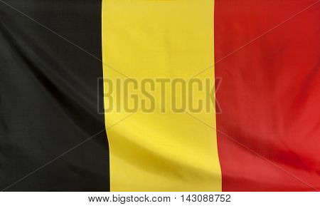 Belgium Flag real fabric seamless close up
