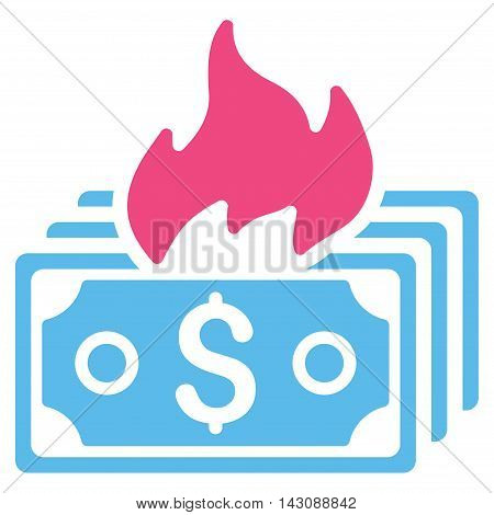 Burn Banknotes icon. Vector style is bicolor flat iconic symbol with rounded angles, pink and blue colors, white background.