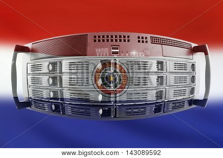 Concept Server with the Flag of Paraguay for use as local or country internet and hardware security image idea