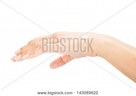 Hands Female Applying Moisturizer Isolated On White Background,beauty Care Concept,clipping Path On
