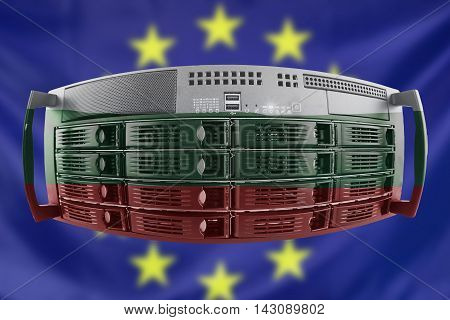 Concept Server with the Flags of Europe and Bulgaria for use as country or european internet and hardware security image idea