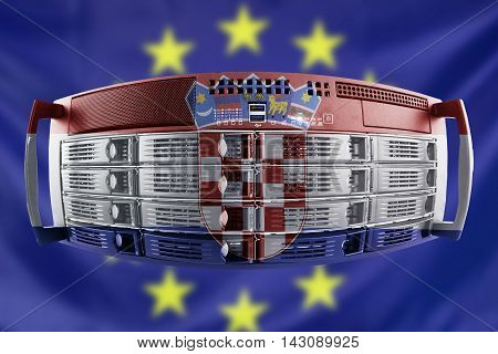 Concept Server with the Flags of Europe and Croatia for use as country or european internet and hardware security image idea