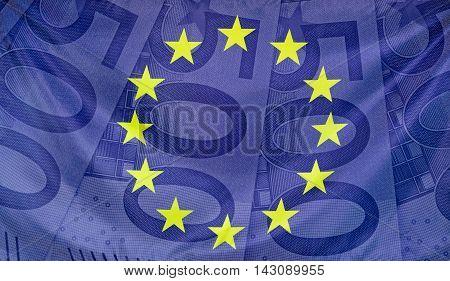 Concept european flag with 500 Euro bills composition