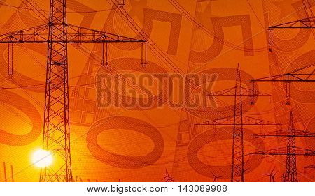 Concept 500 Euro bills with energy and technology infrastructure colorful sunset composition
