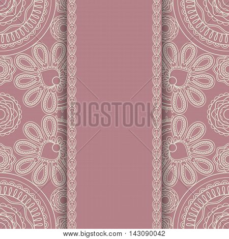 Background with round ornament and vertical lacy stripe retro srtyle. Vector illustration