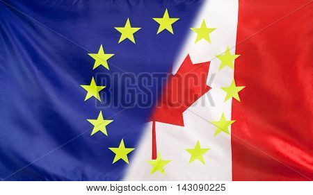 Canada and European Union relations concept with diagonally merged flags
