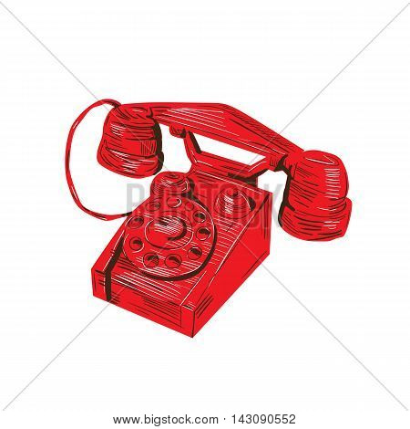 Drawing sketch style illustration of a vintage telephone viewed from front set on isolated white background.