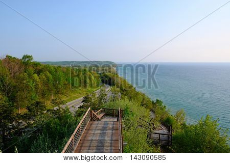 Scenic Lake Michigan overlook near Arcadia, MI, USA