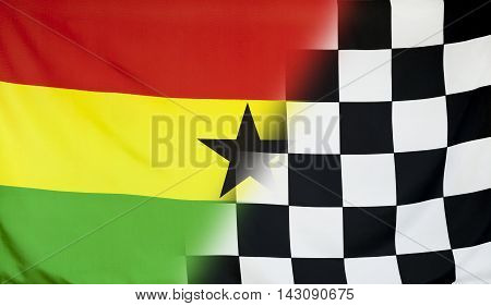 Winning concept consisting of the Ghana and checkered goal flag merging each other