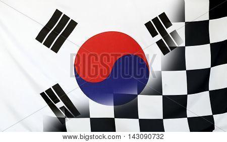 Winning concept consisting of the South Korea and checkered goal flag merging each other