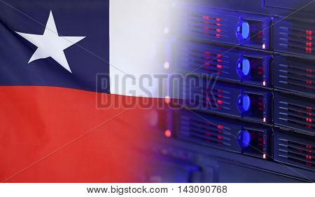 Technology concept consisting of server hardware merging with the Flag of Chile for use as local or country internet and hardware security image idea