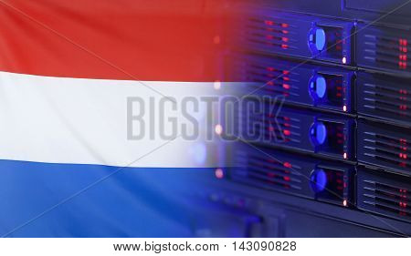 Technology concept consisting of server hardware merging with the Flag of Netherlands for use as local or country internet and hardware security image idea