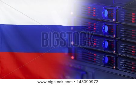 Technology concept consisting of server hardware merging with the Flag of Russia for use as local or country internet and hardware security image idea