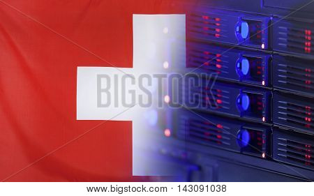 Technology concept consisting of server hardware merging with the Flag of Switzerland for use as local or country internet and hardware security image idea