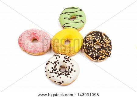 Assorted donuts dessert on a white background