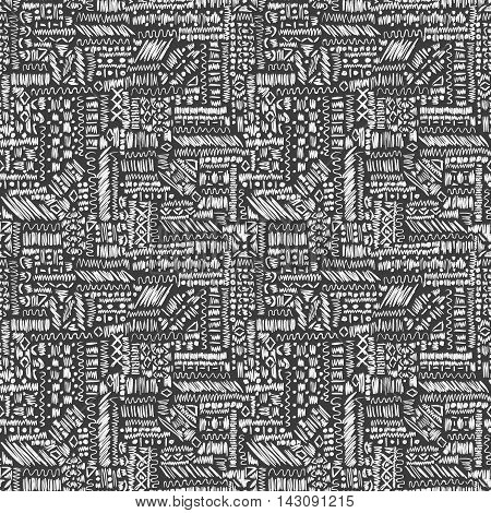 Ethnic Seamless Pattern Abstract Grey Sketch