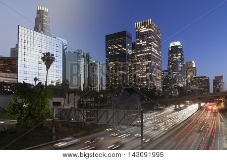 Downtown Skyline Los Angeles twilight transition to night with rush hour traffic on freeway