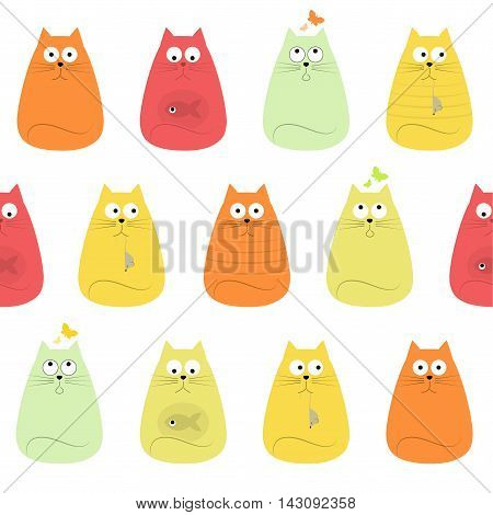 Pretty Cute Colorful Cats Textile Seamless Pattern, vector