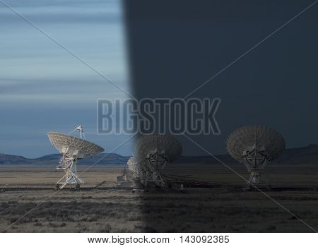 Very Large Array Radio Telescopes dish alignment in New Mexico USA twilight to night transition concept