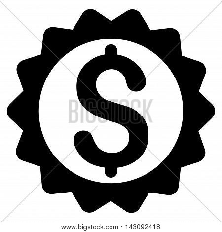 Financial Seal icon. Vector style is flat iconic symbol with rounded angles, black color, white background.