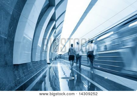 Modern Illuminated Metro Station With Train Motion