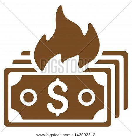 Burn Banknotes icon. Vector style is flat iconic symbol with rounded angles, brown color, white background.