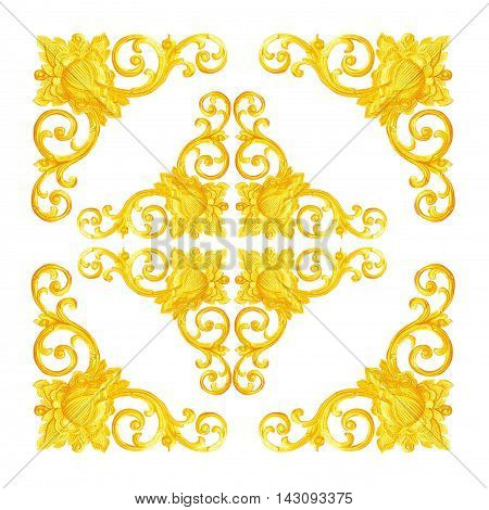 Pattern of flower carved on wood for decoration isolated on white background; Pattern of flower carved frame on white background