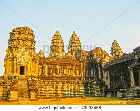 The Angkor Wat Temple, Siem Reap, Cambodia at sunset