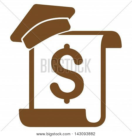 Education Invoice icon. Vector style is flat iconic symbol with rounded angles, brown color, white background.