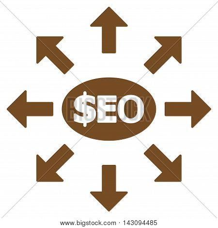 Seo Marketing icon. Vector style is flat iconic symbol with rounded angles, brown color, white background.