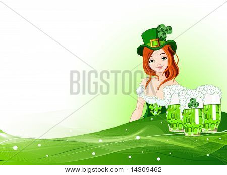 St. Patrick's Day Girl Background